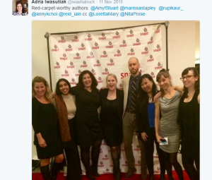At the Giller Light Bash with Simon & Schuster team. Image courtesy of my fabulous publicist, Adria, Nov 10, 2015